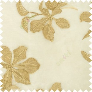 Cream gold brown color embroidery flower beautiful designs leaf branch texture background sheer curtain