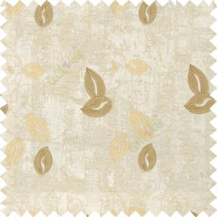 Cream white gold color embroidery traditional designs floral leaf pattern horizontal lines with transparent base fabric Main curtain
