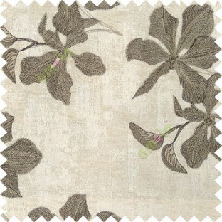Brown grey cream color embroidery flower beautiful designs leaf branch texture background main curtain