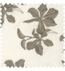 Brown grey cream color embroidery flower beautiful designs leaf branch texture background sheer curtain