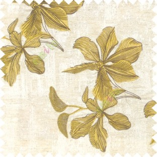 Yellow cream brown color embroidery flower beautiful designs leaf branch texture background main curtain