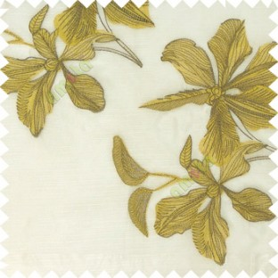 Yellow cream brown color embroidery flower beautiful designs leaf branch texture background sheer curtain