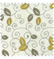 Yellow grey white color embroidery traditional designs floral leaf pattern horizontal lines with transparent base fabric sheer curtain