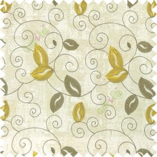 Yellow grey white color embroidery traditional designs floral leaf pattern horizontal lines with transparent base fabric Main curtain