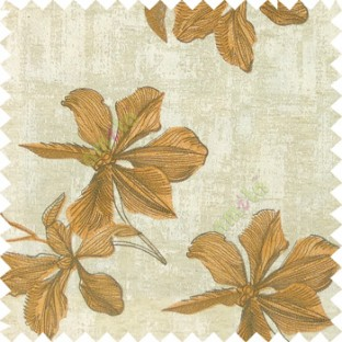 Orange grey cream color embroidery flower beautiful designs leaf branch texture background main curtain