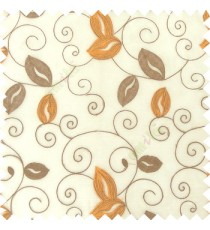 Orange grey white color embroidery traditional designs floral leaf pattern horizontal lines with transparent base fabric sheer curtain
