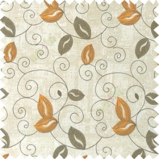 Orange grey white color embroidery traditional designs floral leaf pattern horizontal lines with transparent base fabric Main curtain