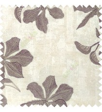 Purple cream grey color embroidery flower beautiful designs leaf branch texture background main curtain