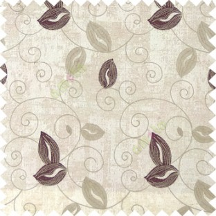Purple white grey color embroidery traditional designs floral leaf pattern horizontal lines with transparent base fabric Main curtain