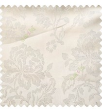 Cream color beautiful rose flower texture finished designs shiny polyester base background leaves flower buds elegant look main curtain