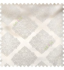 Cream color traditional dice shapes pattern small damask patterns decorative forms solid base fabric polyester main curtain
