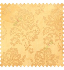 Gold color beautiful rose flower texture finished designs shiny polyester base background leaves flower buds elegant look main curtain