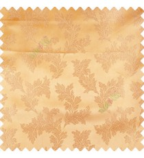 Gold color traditional floral texture patterns shiny base polyester fabric embroidery designs main curtain