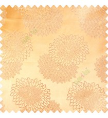 Gold color marigold flower patterns texture embroidery designs small scales solid base fabric polyester main curtain