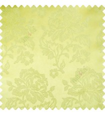 Green color beautiful rose flower texture finished designs shiny polyester base background leaves flower buds elegant look main curtain
