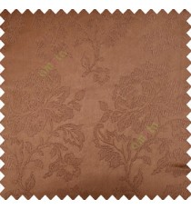 Brown color beautiful rose flower texture finished designs shiny polyester base background leaves flower buds elegant look main curtain
