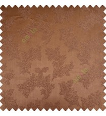 Brown color traditional floral texture patterns shiny base polyester fabric embroidery designs main curtain