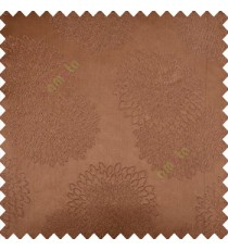 Brown color marigold flower patterns texture embroidery designs small scales solid base fabric polyester main curtain