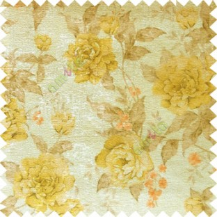Yellow brown cream orange colour beautiful flower texture designs leaf floral buds with thick polyester background main curtain