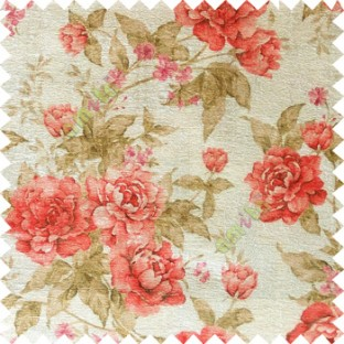 Red green cream brown colour beautiful flower texture designs leaf floral buds with thick polyester background main curtain