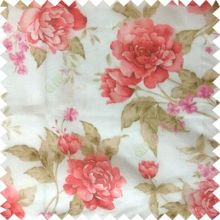 Red green cream brown colour beautiful flower texture designs leaf floral buds with thick polyester background sheer curtain