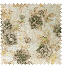 Black yellow cream brown colour beautiful flower texture designs leaf floral buds with thick polyester background main curtain