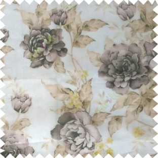 Black yellow cream brown colour beautiful flower texture designs leaf floral buds with thick polyester background sheer curtain