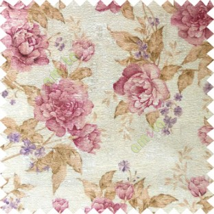 Purple brown cream colour beautiful flower texture designs leaf floral buds with thick polyester background main curtain
