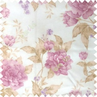 Purple brown cream colour beautiful flower texture designs leaf floral buds with thick polyester background sheer curtain