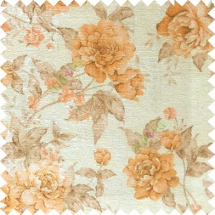 Orange cream brown colour beautiful flower texture designs leaf floral buds with thick polyester background main curtain