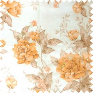 Orange cream brown colour beautiful flower texture designs leaf floral buds with thick polyester background sheer curtain