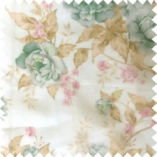 Blue brown white purple colour beautiful flower texture designs leaf floral buds with thick polyester background sheer curtain