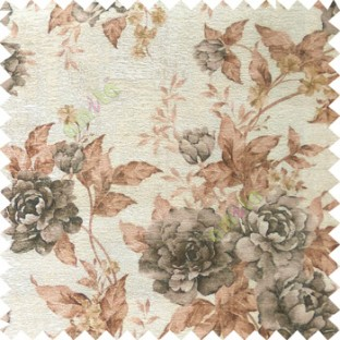 Black brown cream green colour beautiful flower texture designs leaf floral buds with thick polyester background main curtain