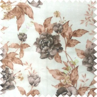 Black brown cream green colour beautiful flower texture designs leaf floral buds with thick polyester background sheer curtain