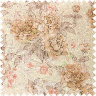 Brown beige purple orange colour beautiful flower texture designs leaf floral buds with thick polyester background main curtain