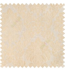 Beige gold color traditional damask designs texture gradients swirl floral leaves ferns polyester main curtain