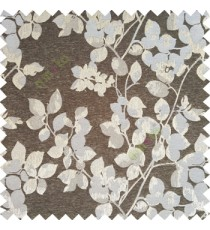 Black silver color floral leaves pattern texture surface polyester thick fabric flower buds main curtain