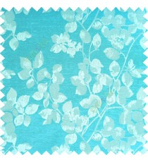 Aqua blue silver color floral leaves pattern texture surface polyester thick fabric flower buds main curtain