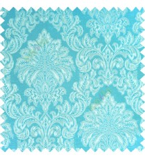 Aqua blue silver color traditional damask designs texture gradients swirl floral leaves ferns polyester main curtain