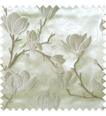 Grey beige color natural floral tree flowers branch buds embroidery pattern with thick polyester background main curtain