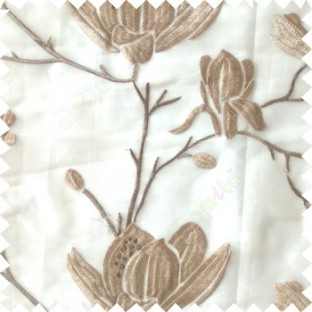Grey beige color natural floral tree flowers branch buds embroidery pattern with transparent polyester background sheer curtain