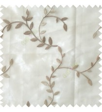 Grey beige color natural floral hanging leaf vertical embroidery pattern with thick polyester background sheer curtain
