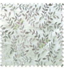 Grey beige color natural floral hanging leaf vertical embroidery pattern with thick polyester background main curtain
