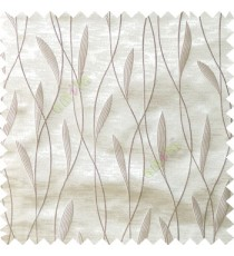 Grey white color vertical flowing lines with embroidery leaf design trendy stripes  pattern with polyester transparent fabric Main curtain