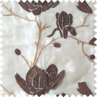 Brown beige color natural floral tree flowers branch buds embroidery pattern with transparent polyester background sheer curtain