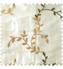 Brown beige color natural floral hanging leaf vertical embroidery pattern with thick polyester background sheer curtain
