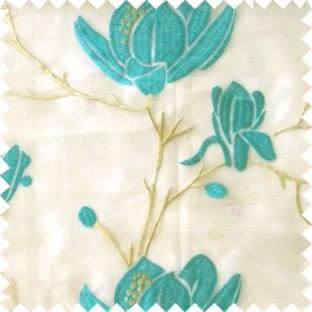 Blue green grey color natural floral tree flowers branch buds embroidery pattern with transparent polyester background sheer curtain