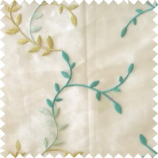 Blue green grey color natural floral hanging leaf vertical embroidery pattern with thick polyester background sheer curtain
