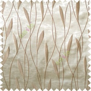 Beige brown color vertical flowing lines with embroidery leaf design trendy stripes  pattern with polyester transparent fabric Main curtain