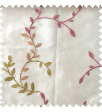 Pink green beige color natural floral hanging leaf vertical embroidery pattern with thick polyester background sheer curtain